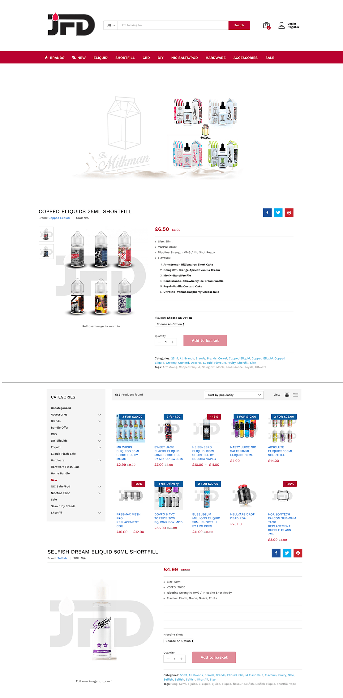 e-commerce web layout